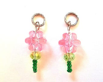 Hearing Aid Charms: Shimmery Flower Stems with Glass and Czech Glass Accent Beads!  Mother Daughter Set also available!