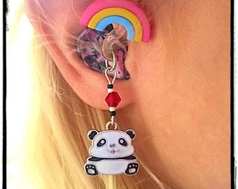 Hearing Aid Charms: Cute Pandas with Czech Glass Accent Beads!  Hearing Aid Jewelry, Hearing Aid Accessories. Trinkets sold separately!