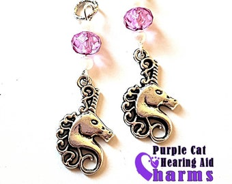 Hearing Aid Charms:  Antique Silver Majestic Unicorns with Dazzling Acrylic Accent Beads.