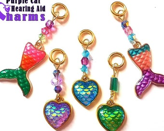 Aid Charms: Magical Mermaid. Dragon Scaled Hearts and Mermaid Tails with Czech Glass and Swarovski Crystal accent beads!
