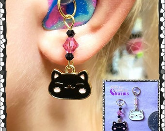 Hearing Aid Charms:  Super Cute and Happy Enamel Cats with Czech Glass and Swarovski Crystal Accent Beads!  2 colors to choose from!
