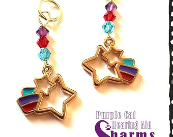 Hearing Aid Charms:  Colorful Shooting Stars with Czech Glass and Swarovski Crystal Accent Beads!