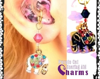 Hearing Aid Charms: Jeweled White or Black Elephants with Swarovski Crystals and Czech Glass Accent Beads!