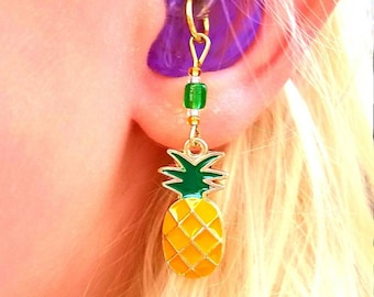 Hearing Aid Charms: Yummy Pineapples with Czech Glass Accent Beads!
