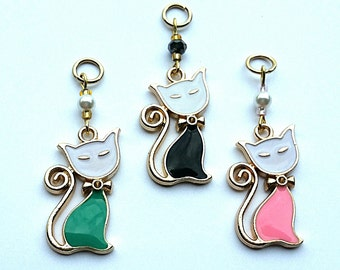 Hearing Aid Charms: Charming Cats with glass accent and man made pearl beads!