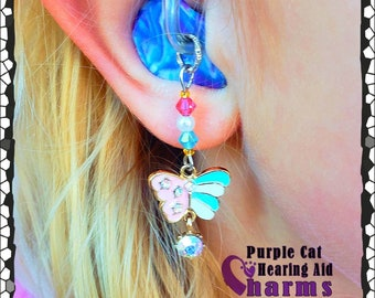 Hearing Aid Charms:  Gem Drop Striped Butterflies with Swarovski Crystal and Czech Glass Accent Beads!