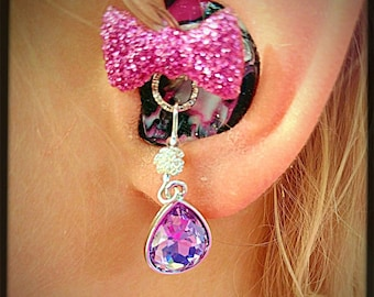 Hearing Aid Charms: Beautiful Gem Drops with Silver Plated and Czech Glass Accent Beads! Tube Trinkets sold separately!