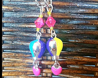 Hearing Aid Charms:  Deluxe 3D Hot Air Balloons with Heart Dangle and Glass Accent Beads!  Accent Beads!
