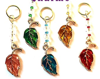 Hearing Aid Charms:  Pearlescent Fall Leaves with Czech Glass Accent Beads!  Available in 5 different dazzling colors!