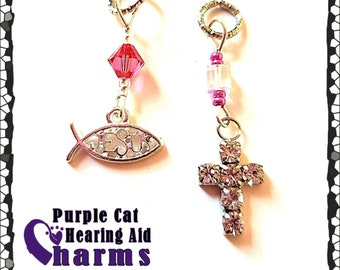 Hearing Aid Charms:  Beautiful Jeweled Crosses, Star of David or Jesus Fisherman of Men with Czech Glass Accent Beads!