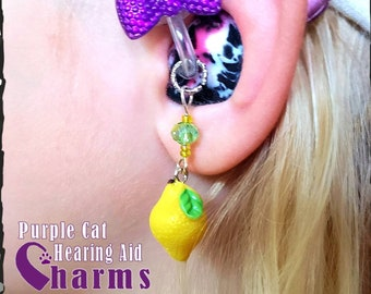 Hearing Aid Charms: Lovely Lemons with Czech Glass Accent Beads!