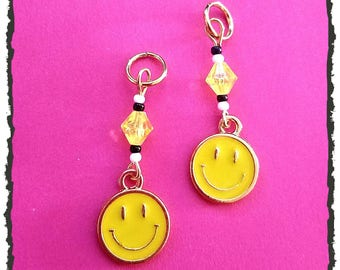 Hearing Aid Charms: Yellow Happy Faced Emojis with Czech Glass Accent Beads!