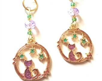Hearing Aid Charms:  Mystical Purple Cat Gold Tinted Hoops with Glass and Czech Glass Accent Beads!