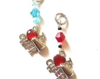 """Hearing Aid Charms: """"I Love To Cheer"""" with Czech Glass Accent Beads!  Great for your little cheerleader or sports fan!"""