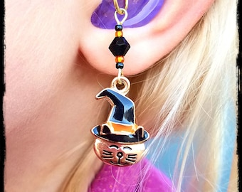 Hearing Aid Charms: Adorable Gold Plated Halloween Cats with Glass Accent Beads!  Also available as a matching mother daughter set!