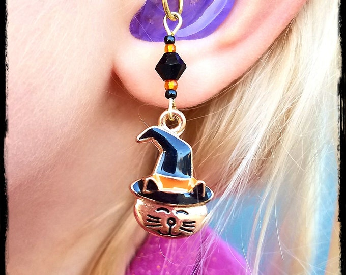 Featured listing image: Hearing Aid Charms: Adorable Gold Plated Halloween Cats with Glass Accent Beads!  Also available as a matching mother daughter set!
