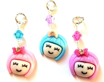 Hearing Aid Charms:  Super Cute Kawaii Style Punk Rock Girls made with Glass and Czech Glass Accent Beads!  3 hair colors available!