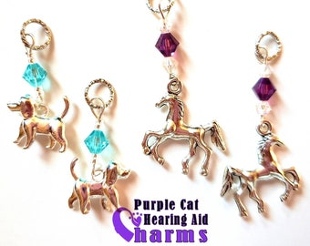 Hearing Aid Charms:  Silver Plated Puppy Dogs and Horses with Czech glass and  Swarovski crystal accent beads!