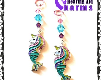 Hearing Aid Charms:  Sparkly Unicorn Mermaids with Czech Glass and Swarovski Crystal Accent Beads!