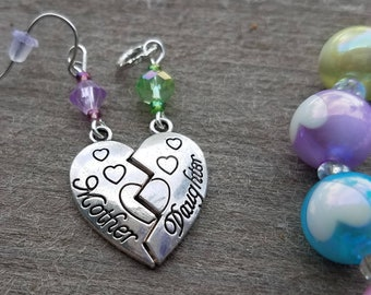 Hearing Aid Charms:  Antique Silver Mother Daughter Connected Heart Set with Swarovski Crystal and Glass Accent Beads! Charm and Earrings!
