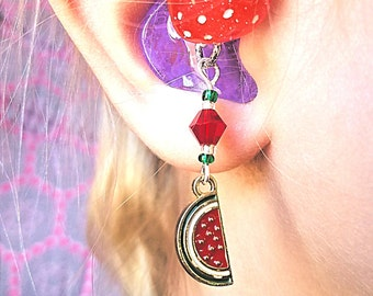 Hearing Aid Charms: Wonderful Gold Plated Enamel Watermelon Slices with Glass Accent Beads!Also available in a Matching Mother Daughter Set!