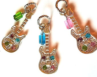 Hearing Aid Charms:  Shiny Silver Plated Jeweled Guitars with Glass and Czech Glass Accent Beads!