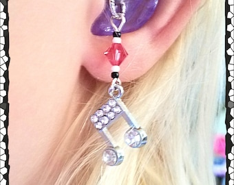 Hearing Aid Charms:  Silver Plated Jeweled Music Notes with Swarovski Crystal and Glass Accent Beads!