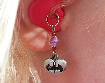 Hearing Aid Charms: Super Hero Girls Bat Hearts with glass accent beads (matching bracelet sets also available in our Bracelets section)!!