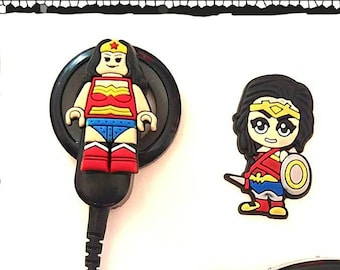 Hearing Aid Tube Trinkets or Cochlear Cuties: Wonder Woman Inspired Cartoon Characters!  Please select quantity 2 for a pair!