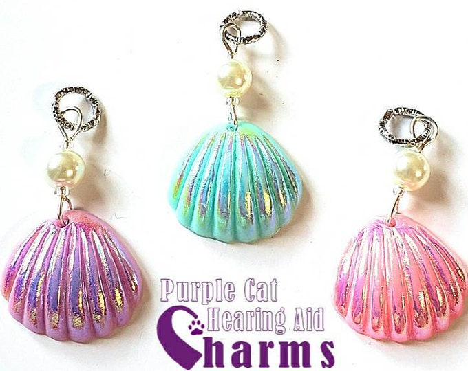 Featured listing image: Hearing Aid Charms:  Beautiful Pearlescent Seashells with Czech Glass and Glass Pearl Accent Beads!  3 different colors to choose from!