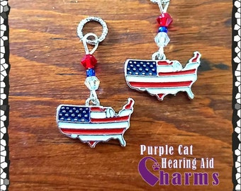 Hearing Aid Charms:  God Bless America 4th of July Flags with Czech Glass Accent Beads!