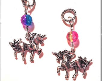 Hearing Aid Charms:  Magical Silver Plated Unicorns with Crackle Glass Swirl Accent Beads!