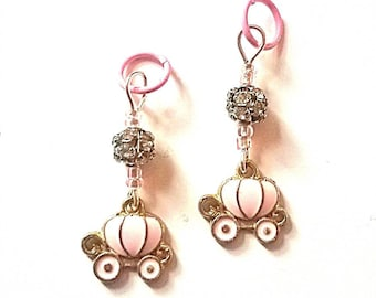 Hearing Aid Charms: Pink Princess Carriages with Czech Glass and Rhinestone Accent Beads!