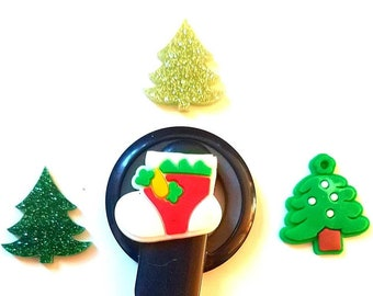 Cochlear Cuties and Hearing Aid Tube Trinkets: Christmas Trees and Stockings!  Please Select Quantity 2 for a pair!