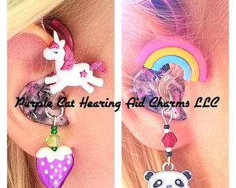 Cochlear Cuties or Hearing Aid Tube Trinkets:  Fun Rainbows and Unicorns!  Please select quantity 2 for a pair!  Charms sold separately!