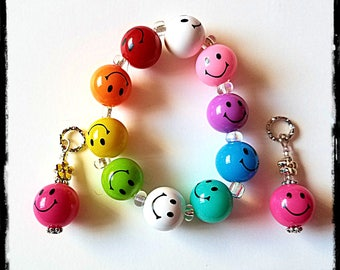 Beaded Bracelet:  Happy Face Emoji Rainbow!  Matching Hearing Aid Charms are Available at a Discounted Bundle Price!