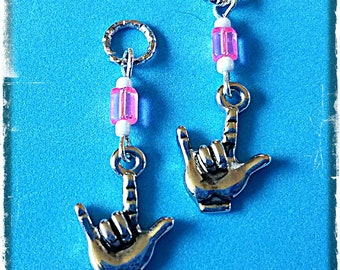 """Hearing Aid Charms:  Silver Plated """"I Love You"""" Sign Language With Czech Glass Accent Beads!"""