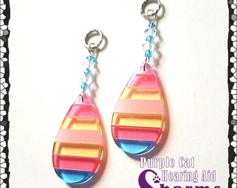 Hearing Aid Charms: Striped Translucent Tear Drops with Czech Glass Accent Beads!