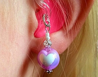 Hearing Aid Charms:  Pearlescent Inlaid Hearts with silver plated window and glass accent beads (available in matching Mother Daughter Sets)