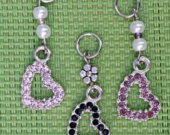 Hearing Aid Charms:  Beautiful Jeweled Hearts