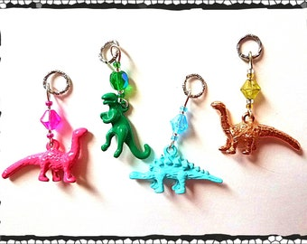 Hearing Aid Charms: 3D Dinosaurs with Czech Glass Accent Beads!  TRex, Stegosaurus and Brontosaurus.  Each set sold separately.