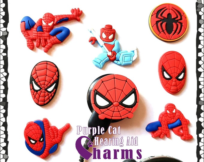 Featured listing image: Hearing Aid Tube Trinkets or Cochlear Cuties:  Spiderman Inspired Cartoon Characters!  Please select quantity 2 for a pair!
