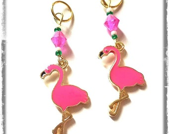 Hearing Aid Charms: Pretty in Pink Flamingos with Czech Glass Accent Beads!  Hearing Aid Accessories, earrings, flamingo jewelry