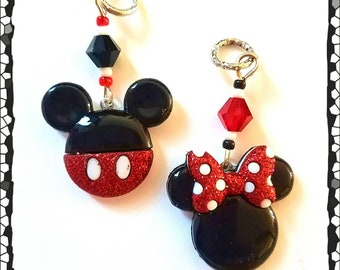 Hearing Aid Charms:Boy or Girl Mouse Ears with Glass Accent Beads! Mother/Daughter Set Available!