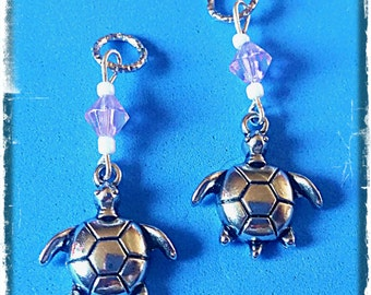 Hearing Aid Charms:  Silver Plated Turtles with glass accent beads!