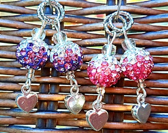 Hearing Aid Charms: Dazzling Glitter Bulbs with Silver Plated Heart Dangle and Glass Beads! Matching Mother/Daughter Set Available!