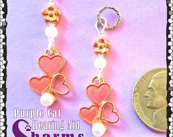 Hearing Aid Charms:  Beautiful Rose Gold Plated, Pink Inlaid Shell Hearts with Faux Pearl, Czech Glass Accent Beads!