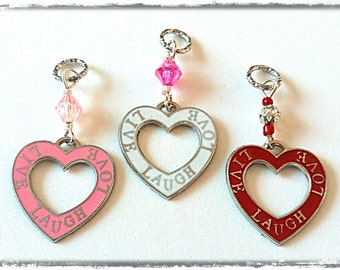 Hearing Aid Charms:  Live, Laugh, Love Hollow Hearts with Glass Accent Beads! Also available in a matching Mother Daughter Set!