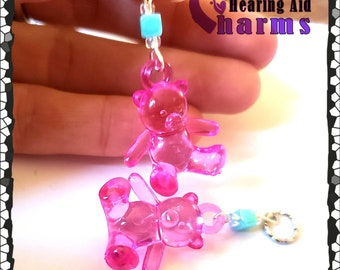 Hearing Aid Charms:  Acrylic Gummy Bears with Glass and Acrylic Accent Beads!  Also available in matching mother daughter sets!