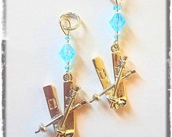 Hearing Aid Charms: Silver Plated 3D Skis with Czech Glass Accent Beads!